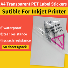 transparent inkjet paper A4 labels 50 sheets photo quality waterproof transparency PET sticker for inkjet printer(China)