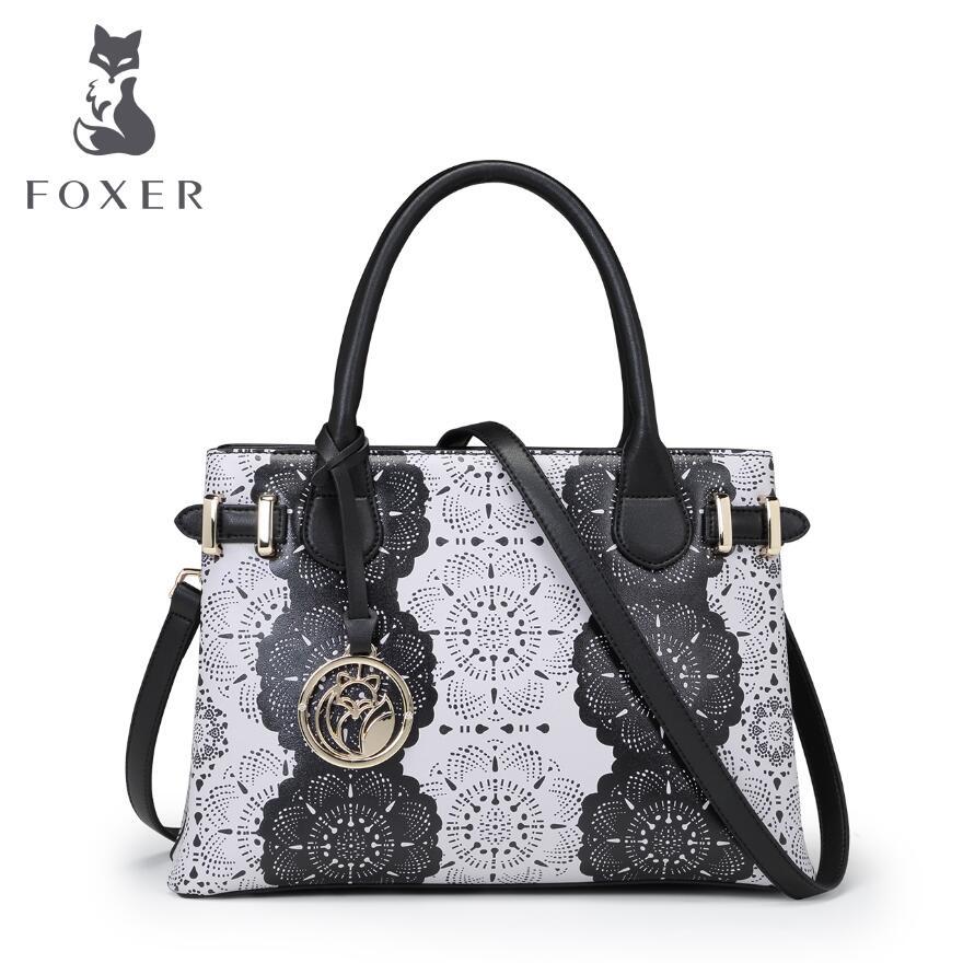 FOXER 2017 New genuine leather bag printing handbags designer fashion women tote shoulder handbags quality leather shoulder bag<br><br>Aliexpress