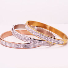 crystal bangles love bracelet Imported Stainless Steel Bracelet & Bangles fashion Titanium Love Tag Bracelet Jewelry For Women(China)