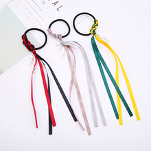 Fashion Girls Hair Rope Hit Colors Long Ribbon Hand-Knit Hair Ties Elastic Hair Rubbers Bands Ribbon Hair Accessories for Women(China)