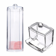 Portable Transparent Acrylic Cotton Swab Organizer Box + Round Container Storage Case Makeup Cotton Pad Box For Home Hotel Offic