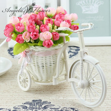 High Quality 17 kinds style rattan vase + flowers meters spring scenery rose artificial flower set home decoration Birthday Gift