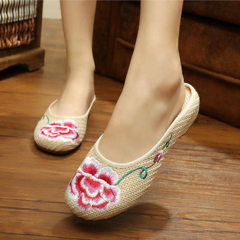 2015 Womens Slippers Old Peking Shoes Slippers Demin Flats with Embroidery Casual Slippers Soft Sole Shoes<br><br>Aliexpress