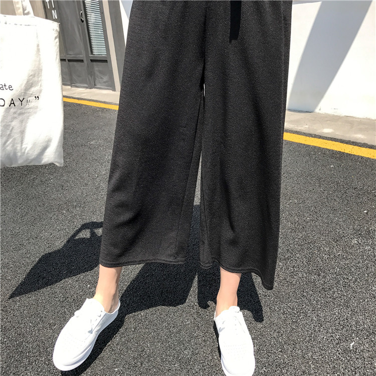 Plus Size - Casual Elastic Waist Loose Wide Leg Pants Preppy Style Trousers Female Palazzo Pants (Us 18W-20W)