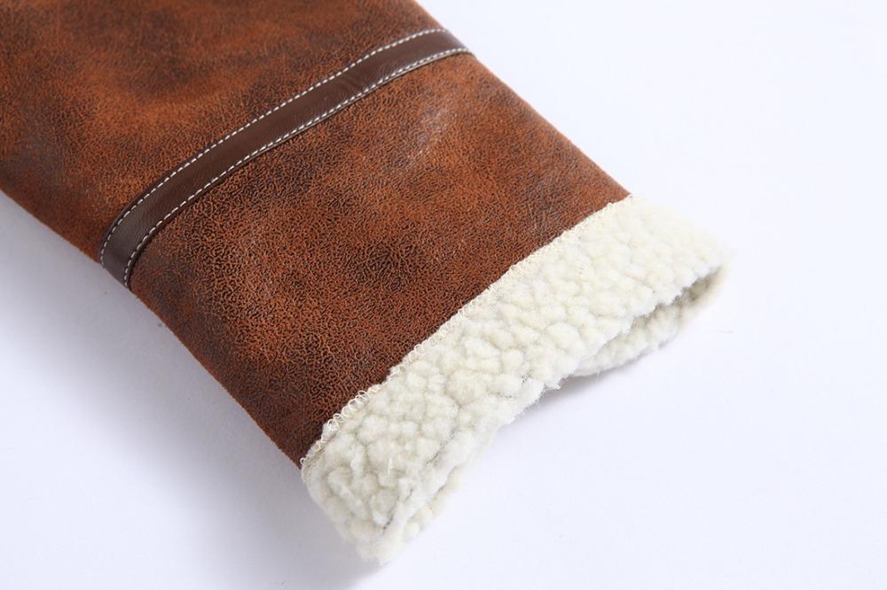 Men Winter Cashmere Faux Leather Coat Jacket Lamb Wool Lined Leon Costume Outerwear Coat Resident Evil 4 Zipper Leather Jacket 5