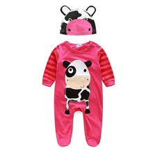 Five different pattern type Baby Boy Girl Clothes Animal Rompers With Hat Long Sleeve Jumpsuits roupas recem nascido Krystal