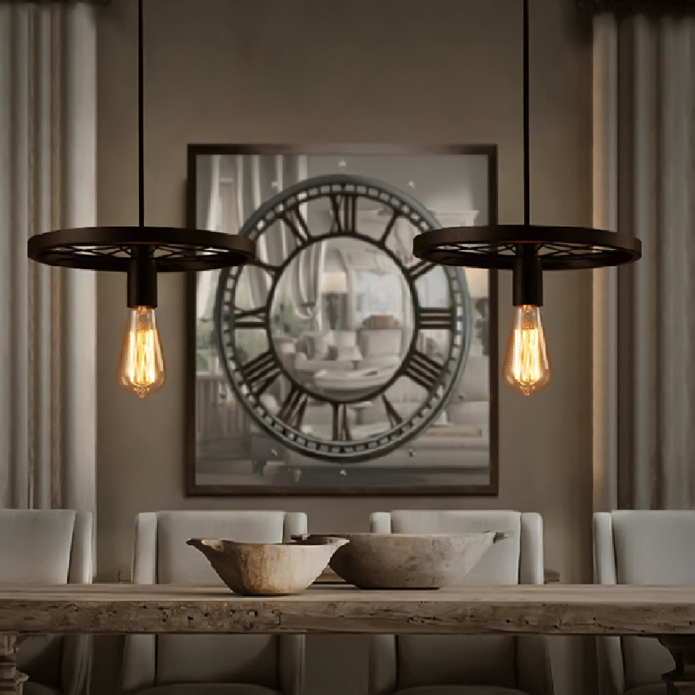 American Droplight Wrought Iron Industry Creative Restaurant Hotel Stage Chandeliers the Wheel Droplight<br>
