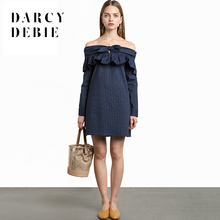 Darcydebie Sweet cute sexy lace-up fold a word shoulder stripes connect  dress. US ... 81e9da74fe82