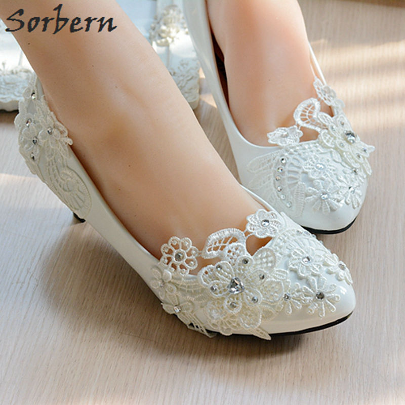 Sorbern Flower Lace White Heels Crystals Beaded Pump High Heels Bridal Shoes Wedding Pumps Shoes Party Shoes 4.5Cm/8Cm<br>