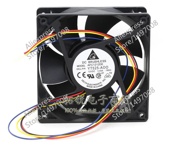 Free Shipping For DELTA  AFC1212DE, -7B53 DC 12V 3.00A, 120x120x38mm 90mm 4-wire 4-pin connector Server Square fan<br>
