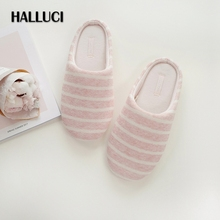 HALLUCI lovely Simple pink striped home slippers women slides knit rubber sole casual office Slippers indoor shoes for women New(China)