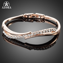 AZORA Rose Gold Color Stellux Austrian Crystal Paved Bangle Bracelet TB0022(China)