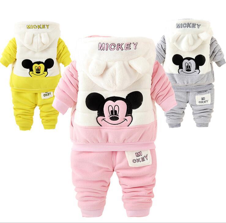 1-4years Cartoon Mickey baby boys clothing set children hoodies pants thicken winter warm clothes boys girls sets 3pcs set<br>