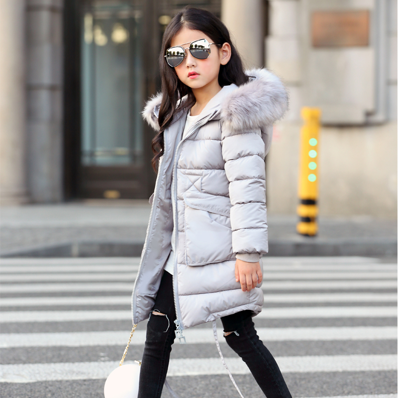 2017 New Girls Long Padded Jacket Children Winter Coat Kids Warm Thickening Hooded down Coats For Teenage Outwear<br>