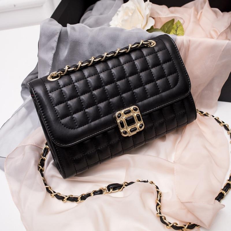 2017 Ellacey Classic Box Leather Crossbody Bag Vintage Ladies Chain Bag Plum Lock Shoulder Messenger Bag Simple Pu Leather Bag<br><br>Aliexpress