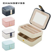 PU Storage Jewellery Box For Ring Necklace Earrings,Two Layers Jewelry Organizer Box With Mirror,Portable Makeup Jewelry Case(China)