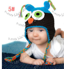 Crochet Pattern Baby Hat Handmade Knitted Toddler Owl Hat with Ear Flap Animal Styles Baby Owl Beanie Cap