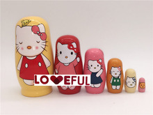 New Quality 6 Pieces Of Hello Kitty Beautiful Wooden Russian Nesting Dolls for Kids' Gifts Toy ---Loveful