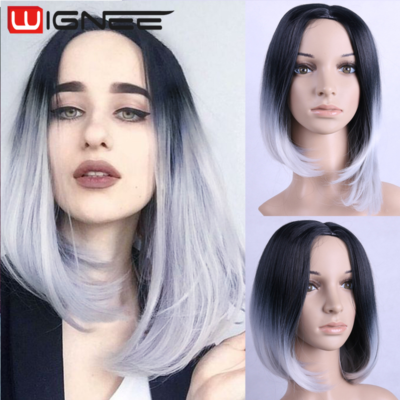 Synthetic Hair Ombre Grey Wig Glueless Short Silky Straight Bob Wigs Two Tones Gray Color Wig Daily Wear None Lace Wig Glueless <br><br>Aliexpress