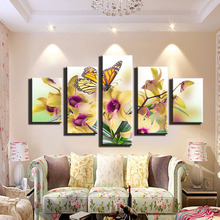 5 board map butterfly modern home decoration painting on the canvas print news photo wall art can be framework