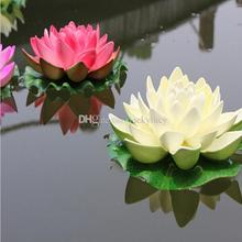 17cm Floating Artificial Lotus Ornament for Garden Pond Fish Tank Pond Water lily Lotus Artificial Flowers Home Decor