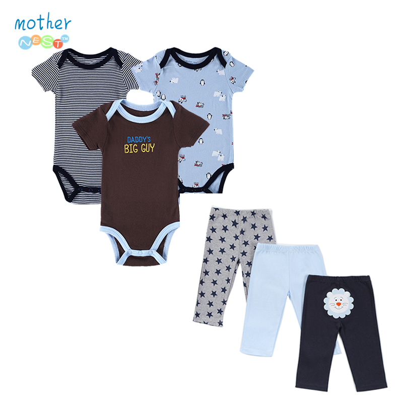 Retail 2017 Summer Style Infant Clothes Baby Clothing Sets Boy Cotton Cartoon Short Sleeve 6pcs Mother Nest Baby Boy Clothes<br><br>Aliexpress
