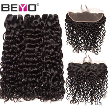 Beyo Water Wave 3 Bundles with Frontal Closure Brazilian Hair Weave Bundles Human Hair Lace Front With Baby Hair Non-Remy 4PCS(China)