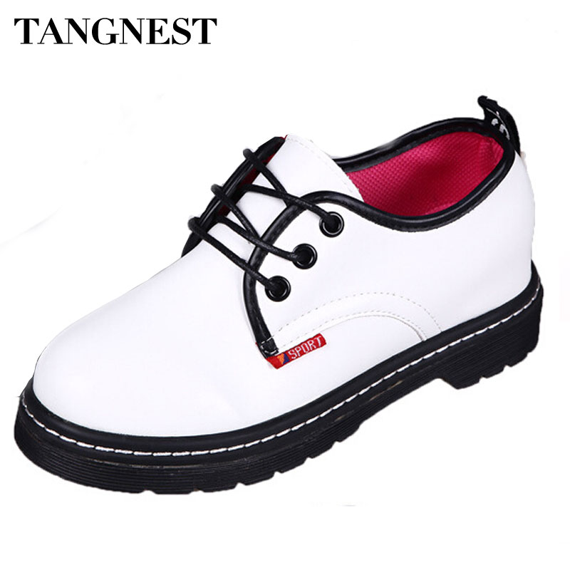 Tangnest Fashion Casual Women Shoes PU Leather Lace Up Flats For Woman  Low Top Martin Boots Women Round Toe Oxfords Shoe XWC395<br><br>Aliexpress