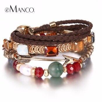 E-Manco Exquis élégant Mix Multiplelayers Bracelet & Bracelet pour les Femmes Perlée Flèches Bracelet En Cristal De Mode Bijoux