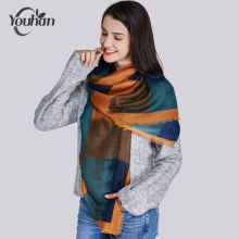 YOUHAN 2017 Women Scarf Luxury Brand Lattice Viscose Square Blanket Shawl Scraf Long Scarves Lady Wraps Echarpe Bandana Pashmina(China)