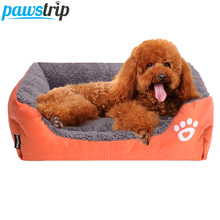 Multi Color Pet Dog Bed Rectangle Oxford+PP Cotton Padded Puppy Sofa Bed House S/M/L