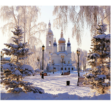 5d diy diamond painting cross stitch kit diamond embroidery landscape SNOW Castle round diamond mosaic unfinished crystal
