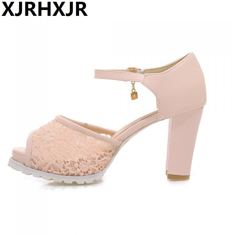 Summer Ladies Fashion Open Toe Elegant Gentlewomen Shoes Womens Strap Thick Heel Sandals Gladiator Sweet Princess Large Size 43<br>