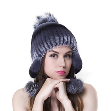 LTGFUR Brand Luxury Fashion Women's Hats Mink Fur Hat For Women Winter Caps Fox Tail Fur Beanies Female Elastic Knitted gorro
