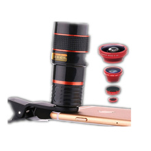 4 in 1 Mobile Phone Lens 12X Telephoto +0.65X Wide Angle +8X Macro +180Degrees Fisheye Universal Fish Eye lenses for Smartphone