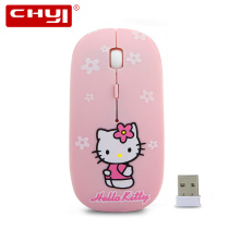 Wireless Mouse Super Thin Hello Kitty 2.4Ghz USB Optical Mause Mice for Computer PC Laptop HelloKitty Mouse For Girl Children(China)