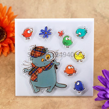 Cat Flower Bird Scrapbook DIY photo cards account rubber stamp clear stamp transparent stamp 10.5x10.5cm KW7052213
