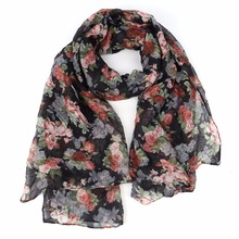 Women Scarves Floral Printing Blend Cotton Linen Shawl Vintage Lady Soft Ethnic 2017 New KLV(China)