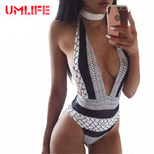 2017 Vintage One Piece Swimsuit Sexy Print Bandage Swimsuits Women High Cut Backless Swimwear Monokini Deep V Neck Bathing Suits(China)