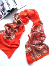 [Silk Jarcquard Scarf]50cm*170cm Embroidery Long Scarf/100% Natural Silk/Flower Scarves/2014 New Autumn&Winter Desigual/Red