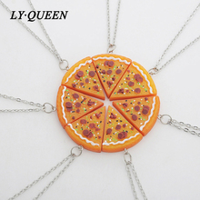 7pcs / set Fun Food Cartoon Design Seven Pizza Good Friends Necklace BFF Brothers Sisters Necklace Pendant