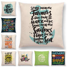 Hot Sale Colorful Pattern Decorative Letters Meaningful Words Interesting Phrases Love Good Happy Sun Cushion Cover Pillow Case(China)