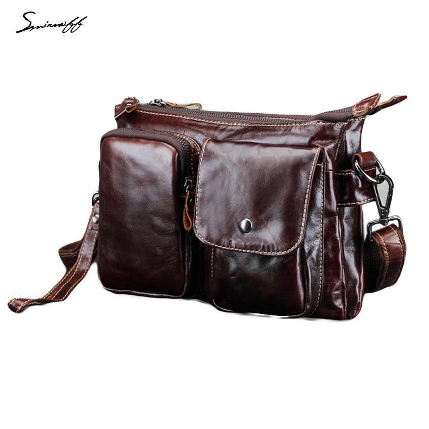 SMIRNOFF 2017 Summer Man Messenger Bag Famous Brand Designer Handbags Male Vintage Muti-Pocket Genuine Leather Belt Bag Men<br><br>Aliexpress