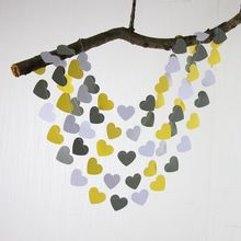 5pcs Yellow, Gray Heart Garland - Paper Hearts, Bridal Shower Decor,, Photo Prop, Bridal Suite, Cake Table