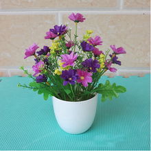 4 Pcs\lot Artificial Silk Hybrid Flowers Bonsai For Market Home Living Room Furnishings Landscape Decorative Pot Culture Plants