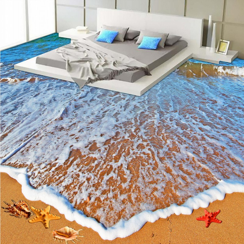 Free Shipping Custom Aesthetic Beach Sea Toilet Bathroom Bedroom lobby 3D Floor wallpaper mural<br>