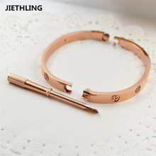 Luxury Classic Design Cross Love Bracelets Bangles With Screwdriver Lovers Wristband Bangle Rose Gold Titanium Screw Bracelet