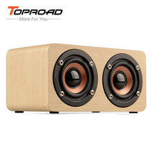 TOPROAD Wooden Wireless Bluetooth Speaker Portable HiFi Dual Speakers Shock Bass caixa de som Soundbar for Mobile Phones(China)