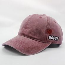 New High Quality Fashion Unisex Woman Embroidery Oops Heart Hat Snapback Sun-proof Cotton Adjustable Washes Baseball Caps(China)