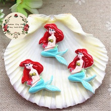20pc Kawaii Resin Cartoon Little Mermaid Flatback Cabochon DIY Decorative Craft Scrapbooking Accesssory,23*24mm